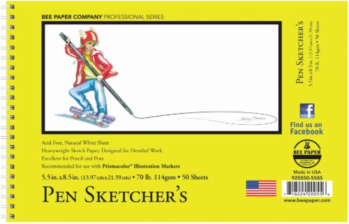 Bee Paper 70 lb Pen Sketcher's Sketch Pad - 50 Sheets - White Perspective: front