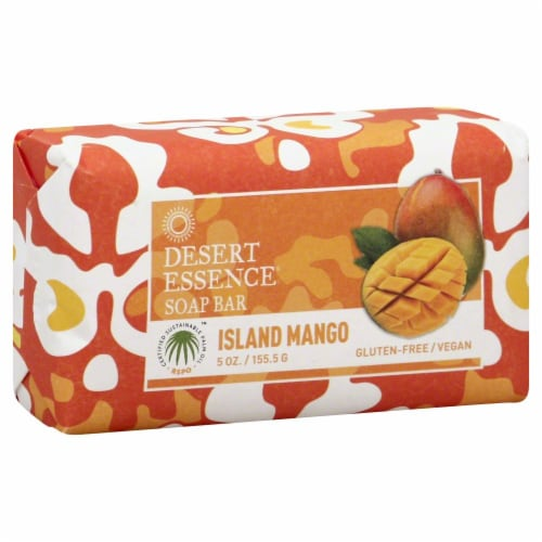 Desert Essence Isladn Mango Soap Bar Perspective: front