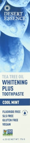 Desert Essence Cool Mint Tea Tree Oil Whitening Plus Toothpaste Perspective: front