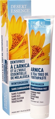 Desert Essence Arnica & Tea Tree Oil Wintergreen Toothpaste Perspective: front
