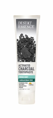 Desert Essence Carrageenan Free Fresh Mint Activated Charcoal Toothpaste Perspective: front