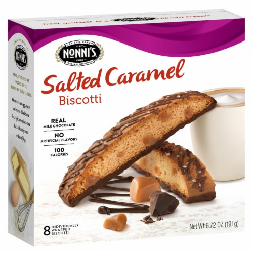 Nonni's Salted Caramel Biscotti Perspective: front