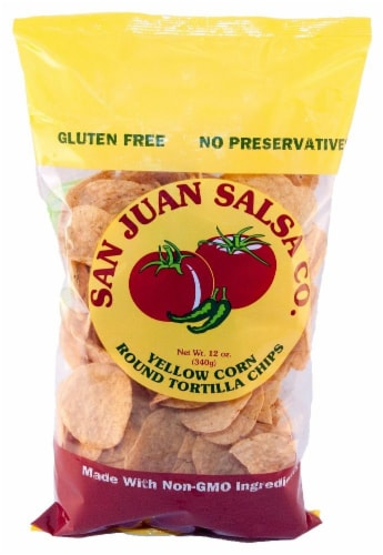San Juan Salsa Company White Corn Chips Perspective: front