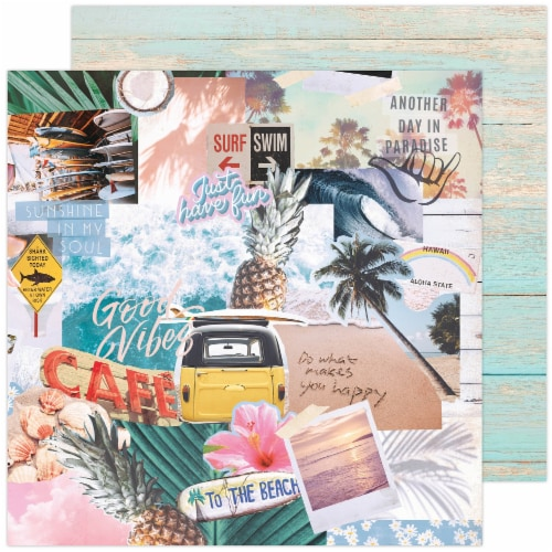 """Heidi Swapp Care Free Double-Sided Cardstock 12""""X12""""-High Tide Perspective: front"""