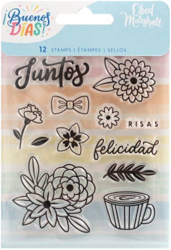 Obed Marshall Buenos Dias Acrylic Stamps 12/Pkg- Perspective: front