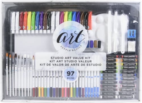American Crafts 354845 Art Supply Basics Studio Kit - Pack of 97 Perspective: front