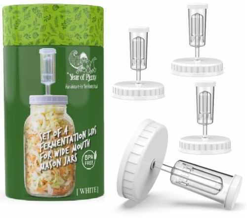 Year of Plenty White Fermentation Lids | for Wide Mouth Mason Jars | 4-Pack Perspective: front