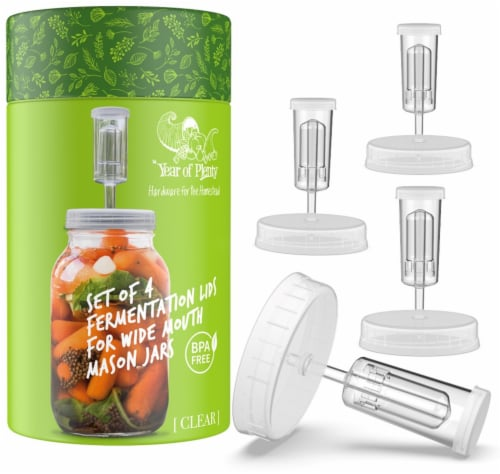 Clear Fermentation Lids | 4-Pack | for Making Sauerkraut in Wide Mouth Mason Jars Perspective: front
