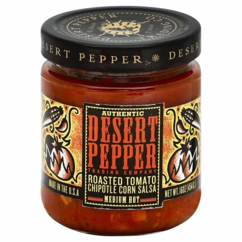Desert Pepper Roasted Tomato Chipotle Corn Salsa Perspective: front