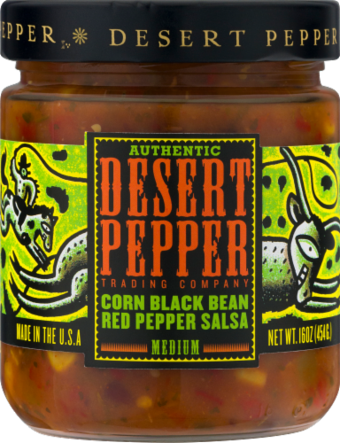 Desert Pepper Corn Black Bean Red Pepper Salsa Perspective: front