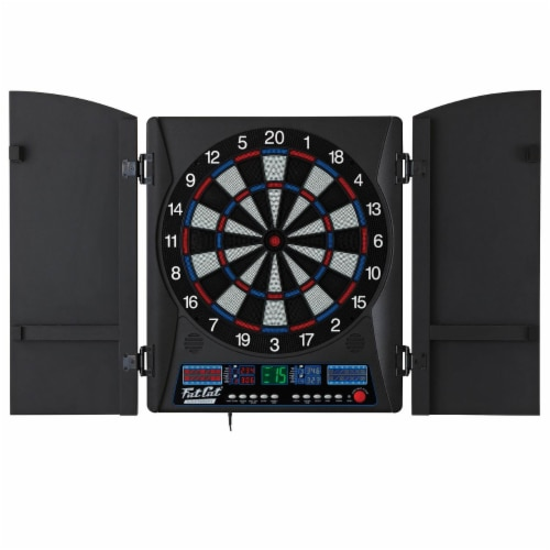 Fat Cat Electronx 13.5 Inch Electronic Soft Tip Classic Dartboard Game Cabinet Perspective: front