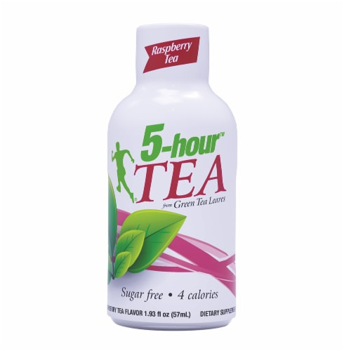 5-Hour Tea Raspberry Green Tea Energy Drink Supplement Perspective: front