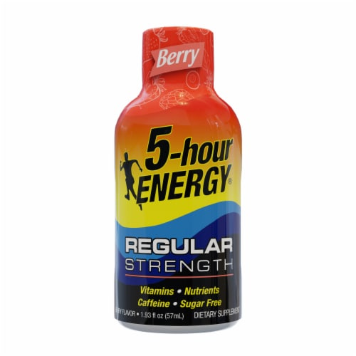 5-Hour Energy Shot Regular Strength Berry Dietary Supplement Perspective: front