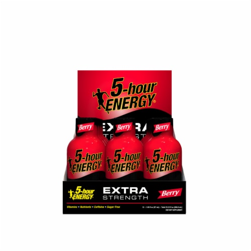 5-Hour Energy Extra Strength Berry Energy Supplement 12 Count Perspective: front