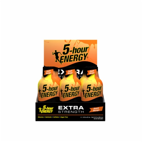 5-Hour Energy Extra Strength Peach Mango Supplements Perspective: front