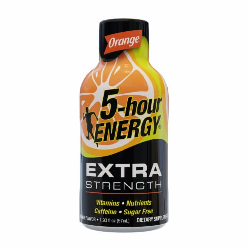 5-Hour Energy Shot Extra Strength Orange Perspective: front
