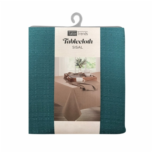 Arlee Home Fashions Table Trends Sisal Round Tablecloth - Turquoise Perspective: front