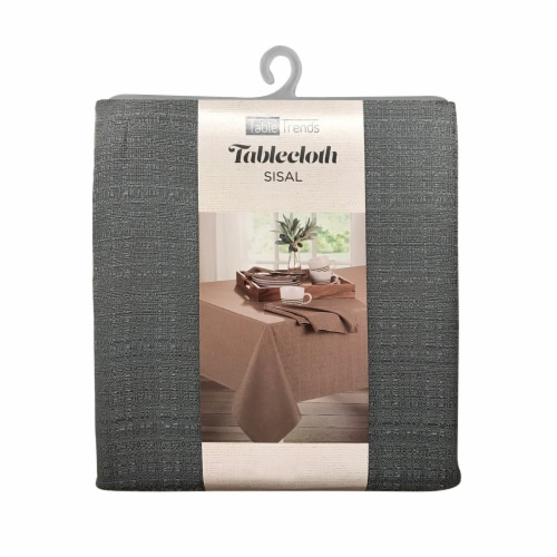 Arlee Home Fashions Table Trends Sisal Oblong Tablecloth - Grey Perspective: front
