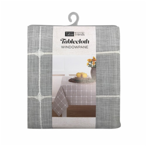 Arlee Home Fashions TableTrends Windowpane Plaid Tablecloth - Grey/White Perspective: front