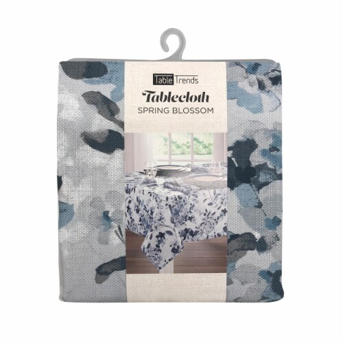 Arlee Home Fashions Table Trends Round Tablecloth - Spring Blossom Blue Perspective: front