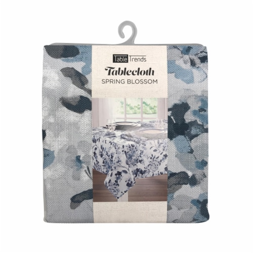 Arlee Home Fashions TableTrends Spring Blossom Tablecloth - Blue/White Perspective: front