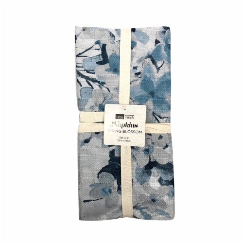 Arlee Home Fashions Table Trends Napkins - Spring Blossom Blue Perspective: front
