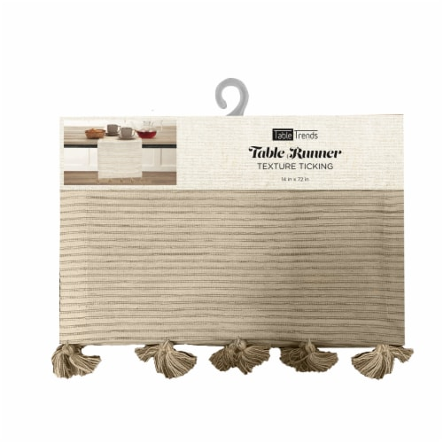 Arless Home Fashions Texture Ticking Table Runner - Tan Perspective: front