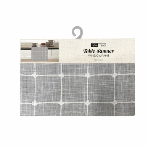 Arlee Home Fashions Windowpane Plaid Table Runner - Grey/White Perspective: front