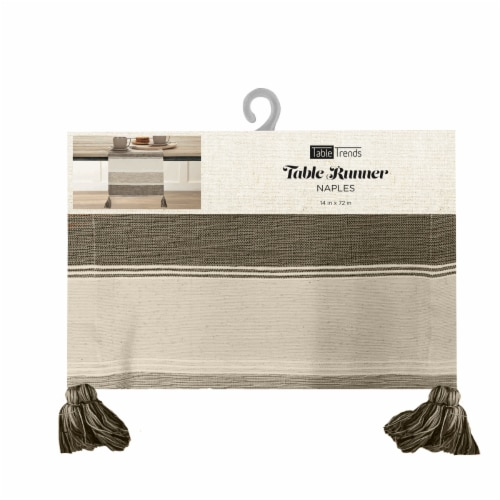 Arlee Home Fashions Naples Table Runner - Tan/Brown Perspective: front