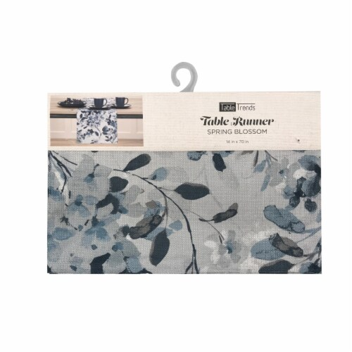 Arlee Home Fashions Spring Blossom Table Runner - Blue/White Perspective: front
