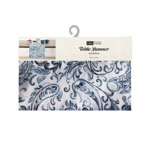 Arlee Home Fashions Karina Paisley Table Runner - Blue/White Perspective: front