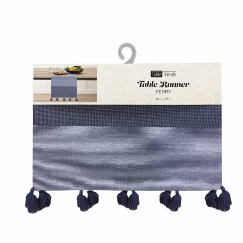 Arlee Home Fashions Perry Stripe Table Runner - Blue/White Perspective: front