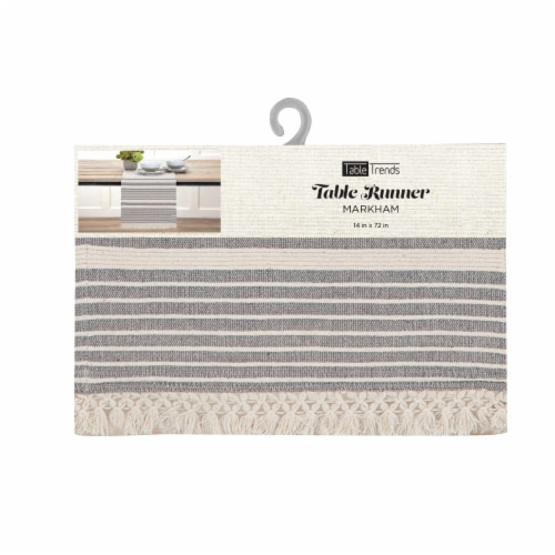Arlee Home Fashions Markham Table Runner - Grey/White Perspective: front