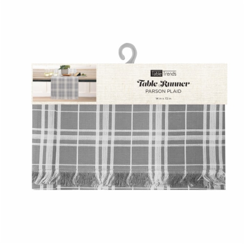 Arlee Home Fashions Parsons Plaid Table Runner - Grey/White Perspective: front