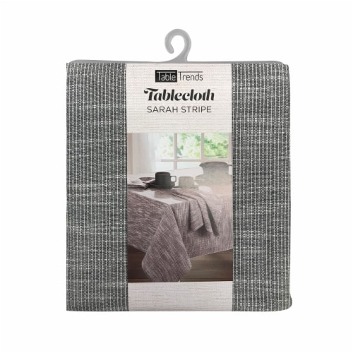 Arlee Home Fashions Sarah Stripe Tablecloth - Grey/White Perspective: front