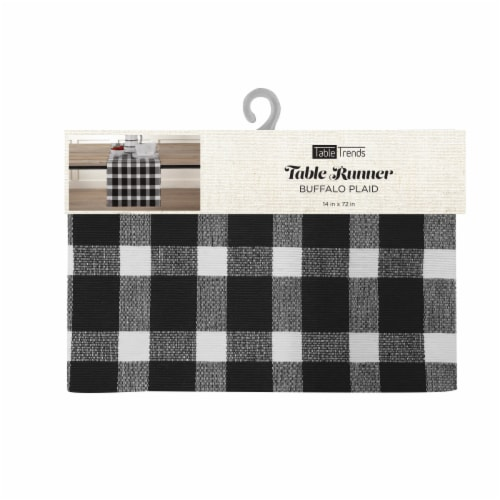 Arlee Home Fashions Buffalo Plaid Table Runner - Black/White Perspective: front