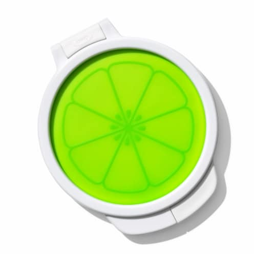 OXO Good Grips Cut and Keep Silicone Citrus Storage Container - White/Lime Green Perspective: front
