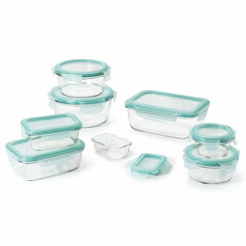 OXO Good Grips 16 Piece Glass Food Storage Round Square Container Set with Lids Perspective: front