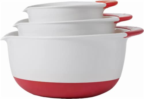 OXO Good Grips 3-Piece Mixing Bowl Set - Red/White Perspective: front