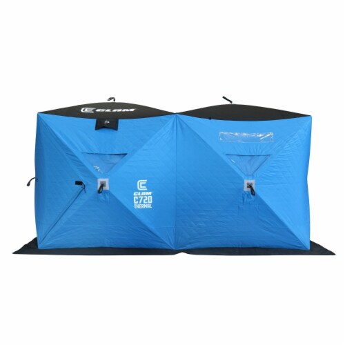 CLAM 15497 Portable 6 x 12 Ft C-720 Pop Up Ice Fishing Thermal Hub Shelter Tent Perspective: front