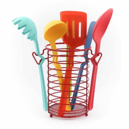 Fiesta Silicone Utensil Set & Caddy Perspective: front