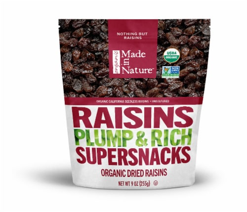Made in Nature Organic Dried Raisins Supersnacks Perspective: front