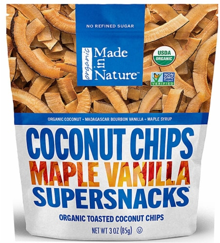 Made In Nature  Organic Toasted Coconut Chips   Maple Vanilla Perspective: front