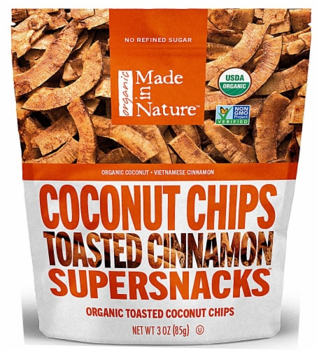 Made In Nature  Organic Toasted Cinnamon Toasted Coconut Chips Perspective: front