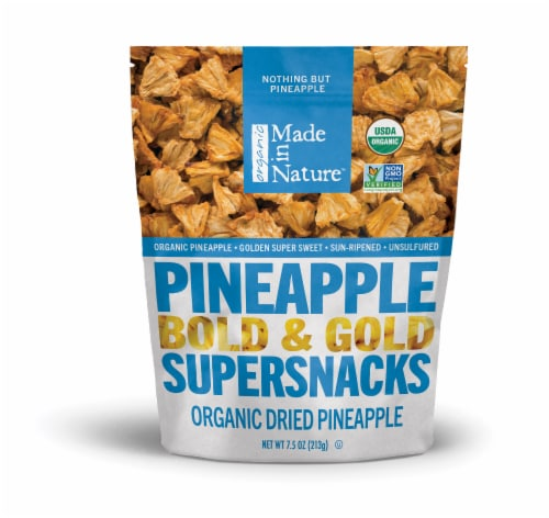 Made in Nature Organic Dried Pineapple Supersnacks Perspective: front