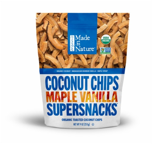 Made in Nature Organic Maple Vanilla Toasted Coconut Chips Supersnacks Perspective: front