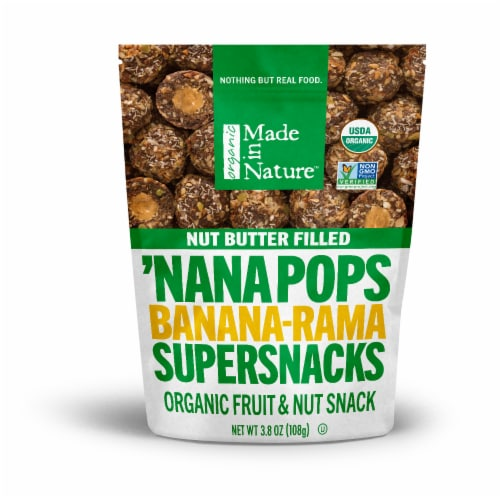 Made in Nature Organic Nana Pops Banana Fruit & Nut Snack Perspective: front