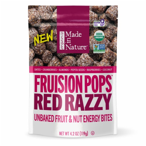 Made in Nature Organic Razzy Pops Red Raspberry Fruit & Nut Supersnacks Perspective: front