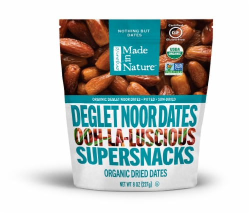 Made in Nature Organic Dried Deglet Noor Dates Supersnacks Perspective: front