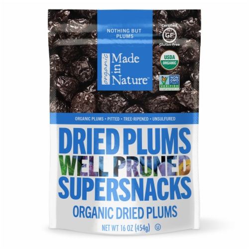 Made in Nature Organic Dried Plums Supersnacks Perspective: front